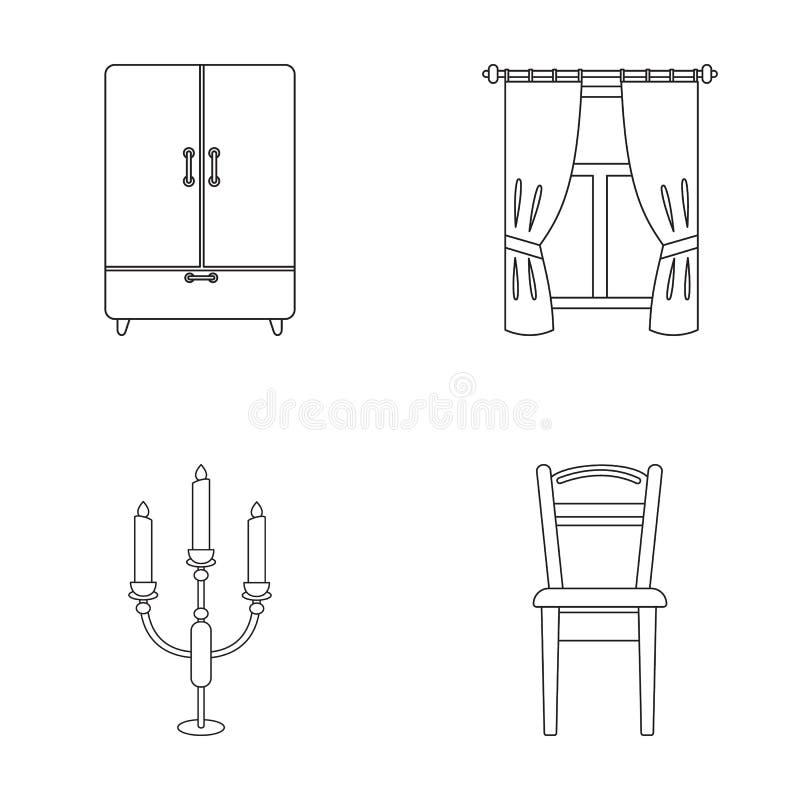 Garderob fönster med gardiner, ljusstake, stol Fastställda samlingssymboler för möblemang i materiel för symbol för översiktsstil royaltyfri illustrationer