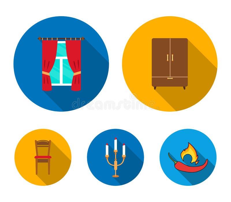Garderob fönster med gardiner, ljusstake, stol Fastställda samlingssymboler för möblemang i plant materiel för stilvektorsymbol royaltyfri illustrationer