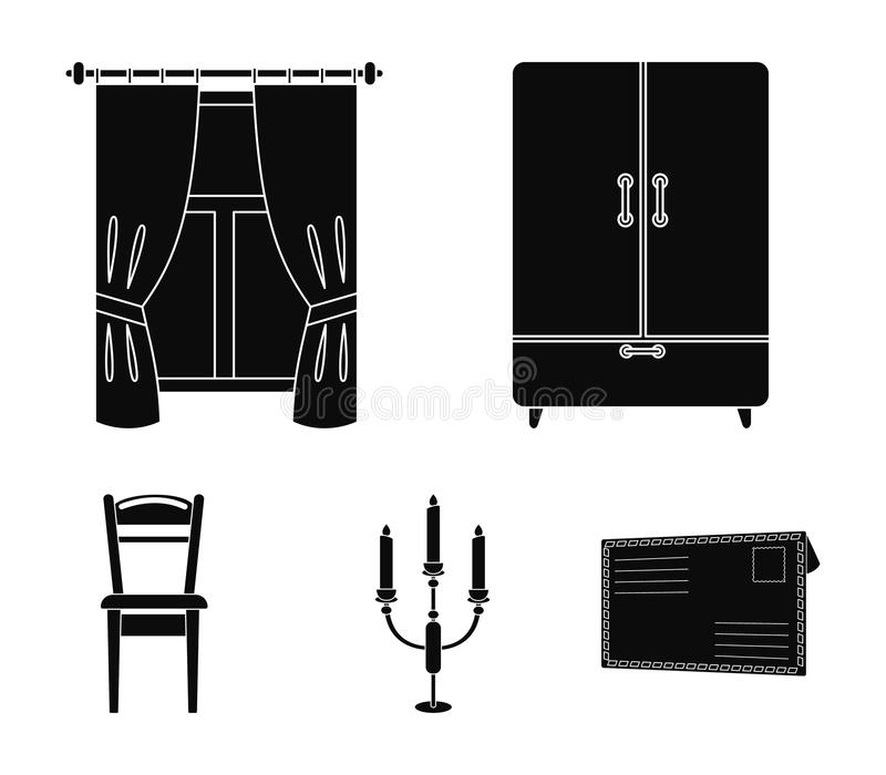Garderob fönster med gardiner, ljusstake, stol Fastställda samlingssymboler för möblemang i svart materiel för stilvektorsymbol vektor illustrationer