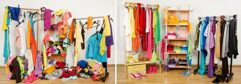 Garderob för smutsigt efter rumsrent ordnat vid färger royaltyfri foto