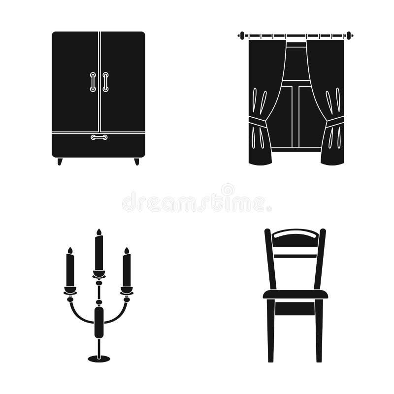 Garderoba, okno z zasłonami, candlestick, krzesło Meble ustalone inkasowe ikony w czerń stylu symbolu wektorowym zapasie ilustracja wektor