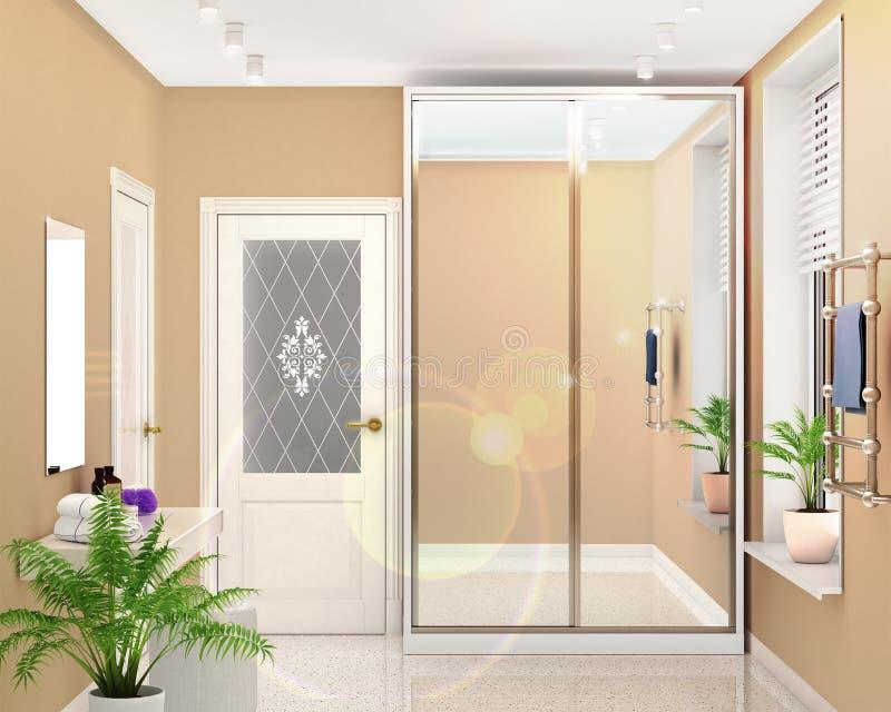 Garderoba przedział z odzwierciedlającymi drzwiami w jaskrawym pokoju ilustracja wektor