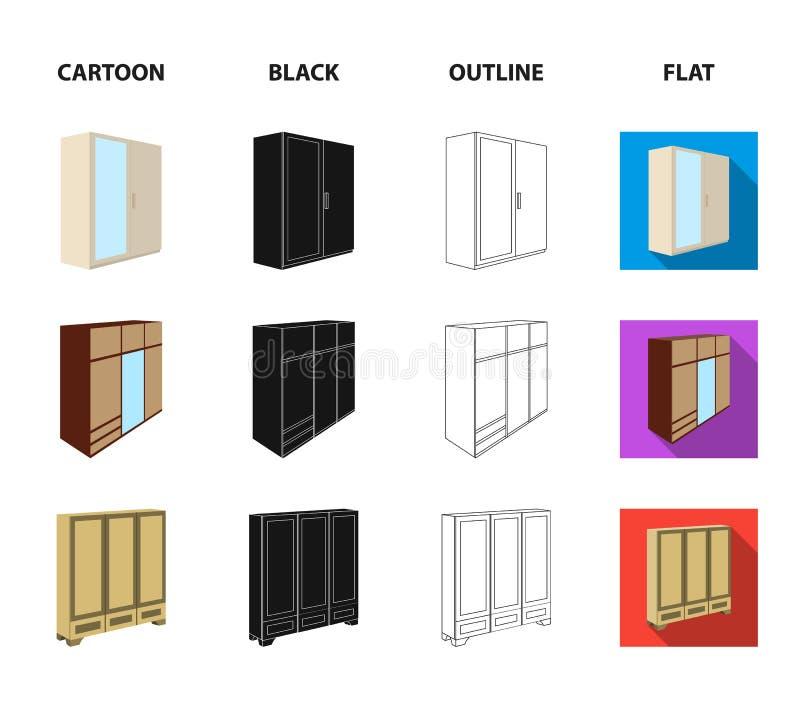 Garderoba z lustrem, garderoba, odkłada z mezoninami Sypialnia meble ustalone inkasowe ikony w kreskówce, czarnej ilustracji