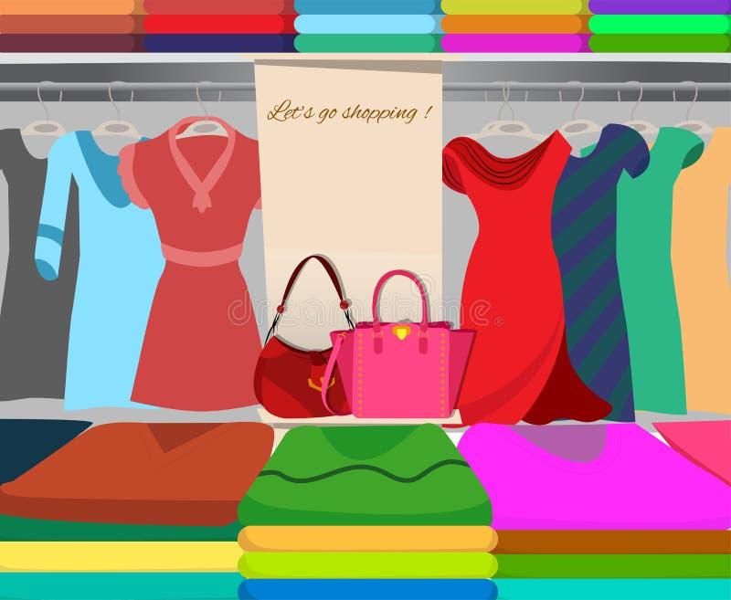 Download Garderoba zakupy tło ilustracji. Ilustracja złożonej z femaleness - 53775691