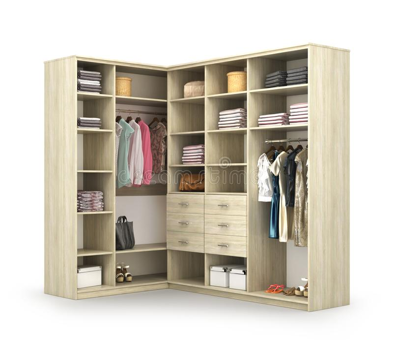 garderobe Öffnen Sie Wandschrank mit Sachen lizenzfreie abbildung
