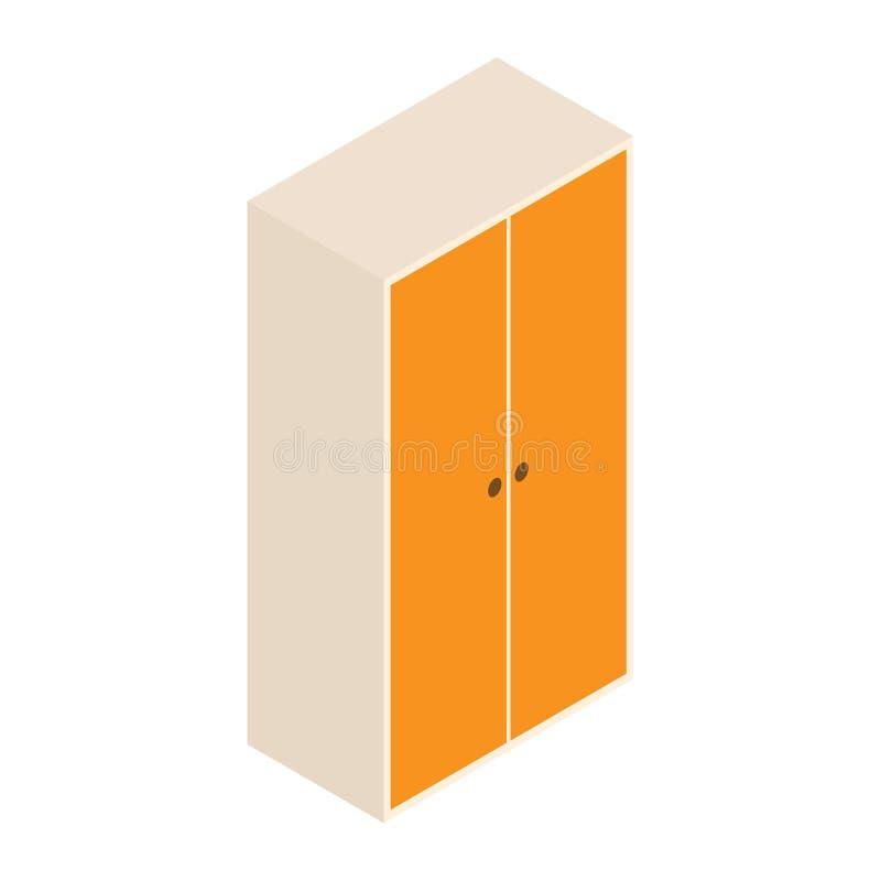 Garderobe des Vektors 3d und Entwurfsillustration lokalisiertes hölzernes Kabinett auf weißem Hintergrund Isometry stock abbildung