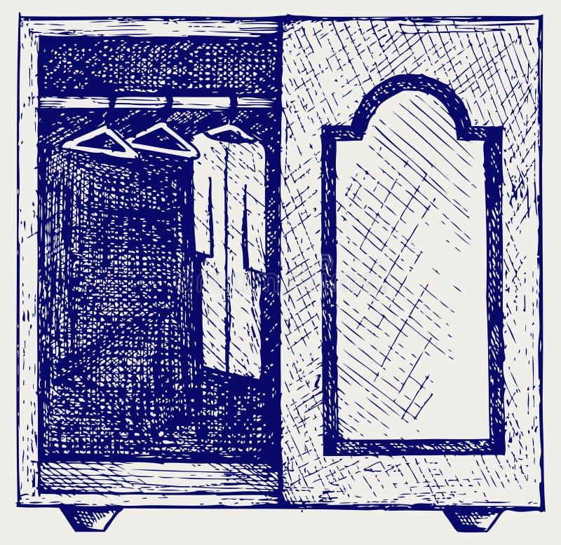 Garderobe mit Kleidung vektor abbildung