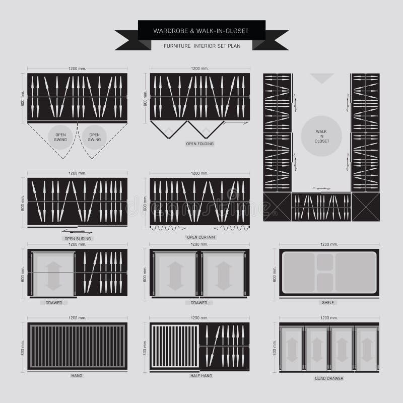 Garderobe und Weg in der Wandschrank Möbel-Ikone vektor abbildung