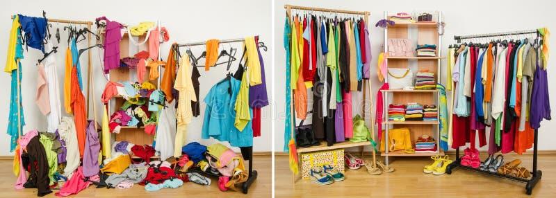Garderobe vor unordentlichem nach sauberem lizenzfreie stockbilder