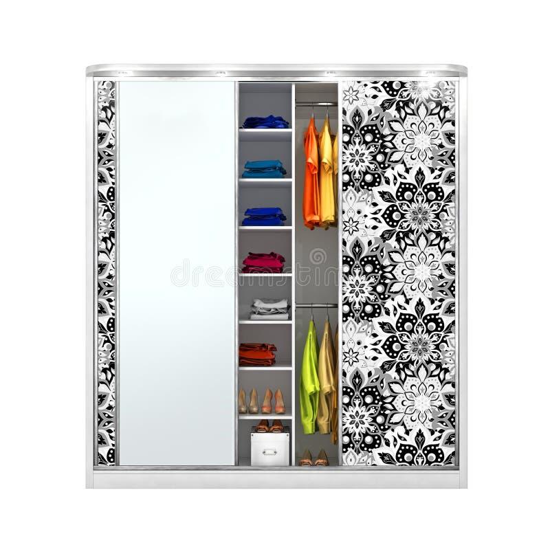 Garderoben-Coupé Offener Wandschrank mit Sachen lokalisiert auf einem weißen Hintergrund stock abbildung