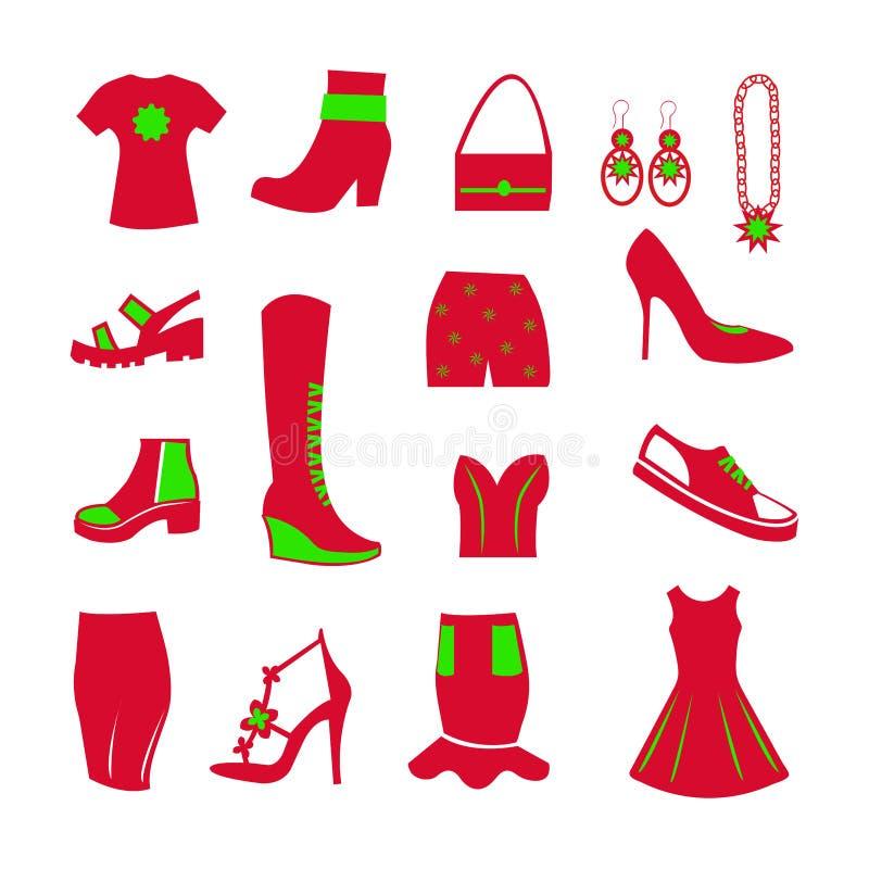 Garderobeneinzelteile für Frauen, rot und grün, Ikonen für die Website, die Kleidung verkaufen stockfotografie