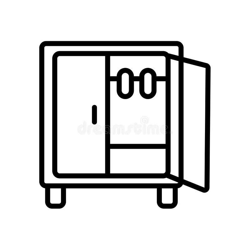 Garderobenikonenvektor lokalisiert auf weißem Hintergrund, Garderobenzeichen stock abbildung