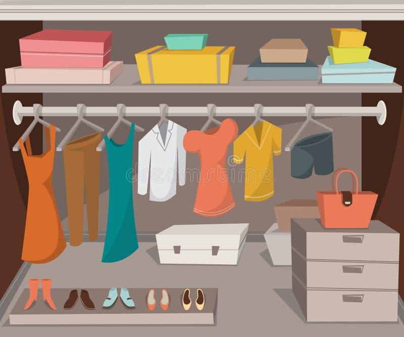 Garderobenraum mit Kleidung, Schuhen und Kästen vektor abbildung