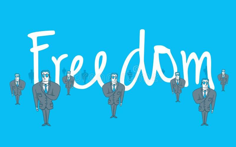 Gardes du corps gardant le coffre-fort de mot de liberté illustration libre de droits