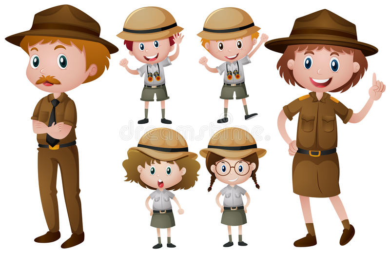 Gardes forestiers dans l'uniforme illustration libre de droits