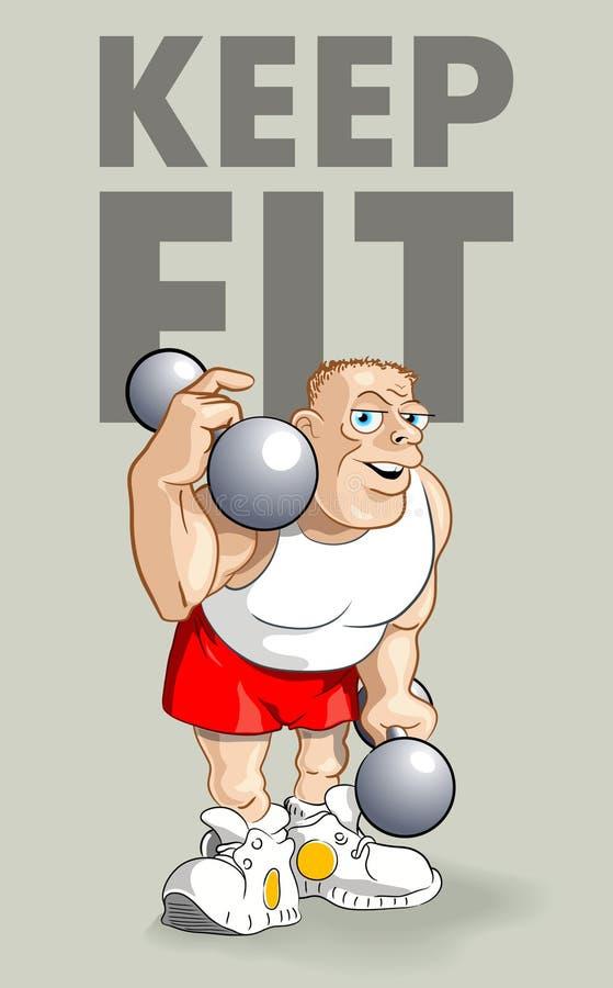 Gardez l'affiche convenable : Bodybuilder drôle illustration de vecteur