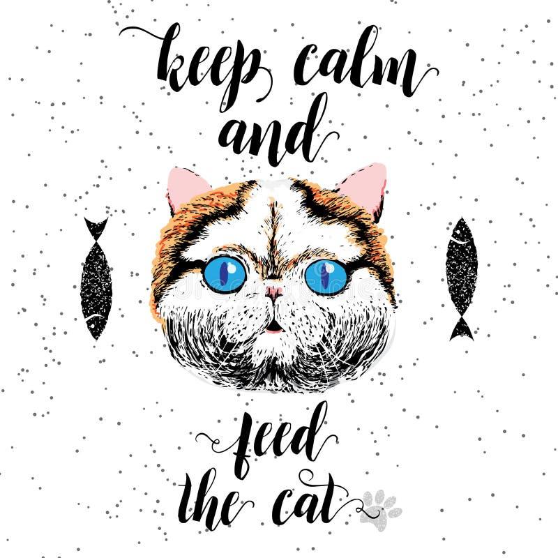Gardez le calme et alimentez le chat illustration stock