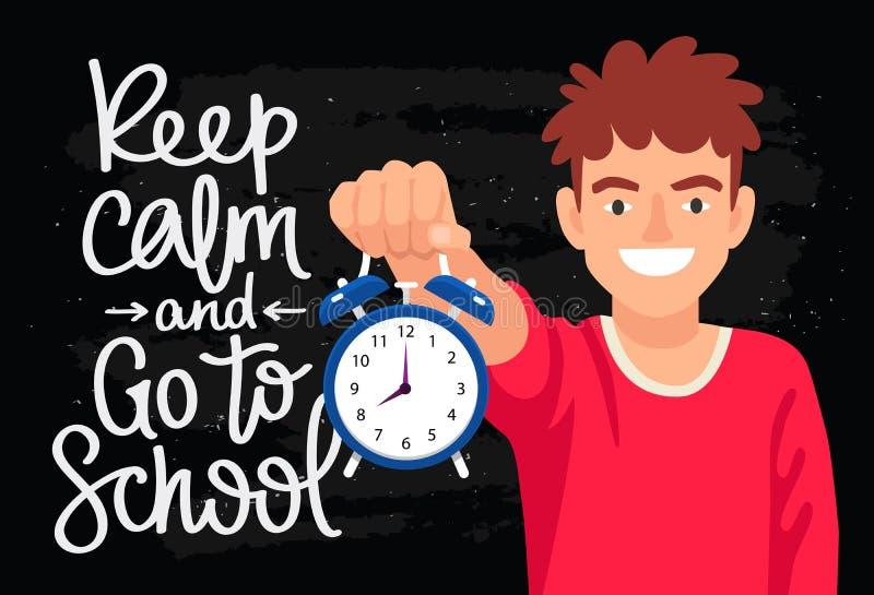 Gardez le calme et allez à l'école illustration libre de droits