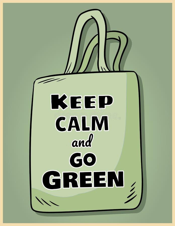 Gardez le calme et allez vert Affiche de motivation d'expression Produit ?cologique et de z?ro-d?chets Disparaissent la vie verte illustration de vecteur