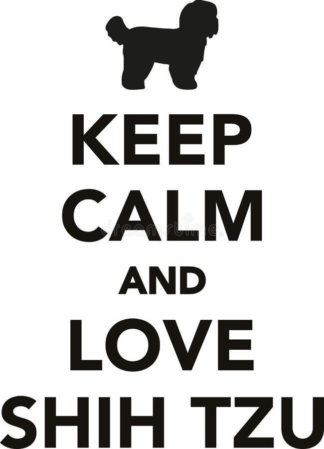 Gardez le calme et l'amour Shih Tzus illustration libre de droits