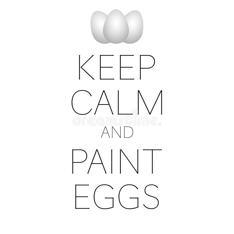 gardez le calme et la bannière de Pâques d'oeufs de peinture illustration stock