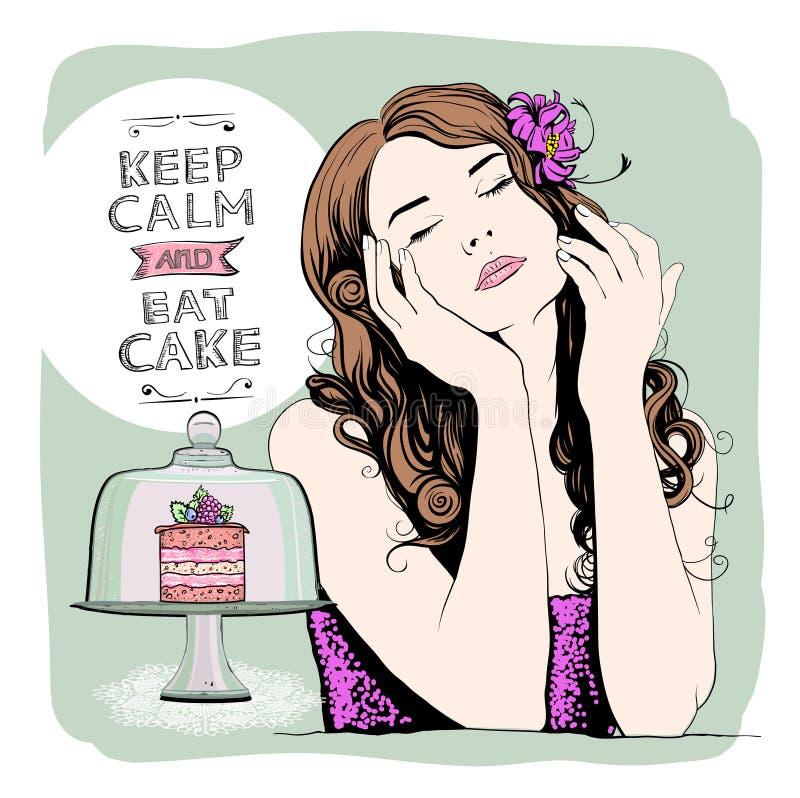 Gardez le calme et mangez le gâteau, conception avec le joli portrait calme de femme illustration libre de droits