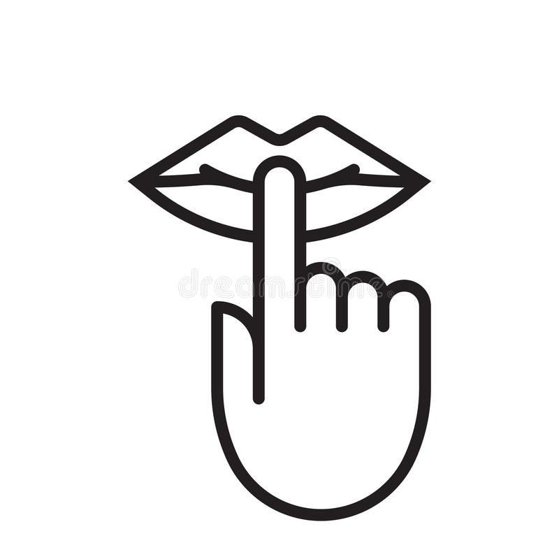 Gardez le silence soit signe silencieux de bouche de doigt tranquille de lèvres, aucune icône de vecteur de bruit illustration libre de droits