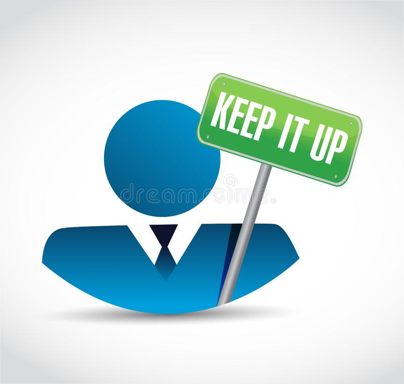 Gardez-le vers le haut du concept de signe d'homme d'affaires illustration de vecteur
