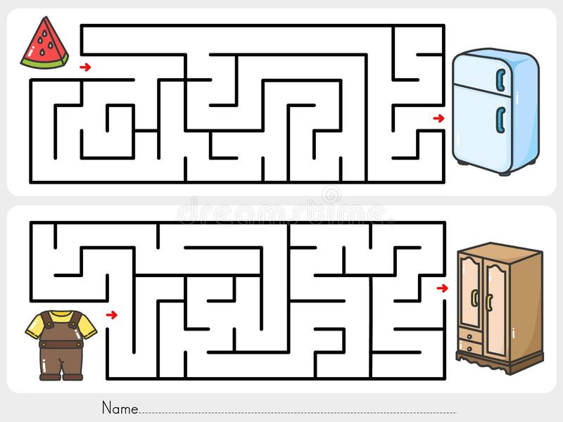 Gardez vos affaires Trouvez la manière au cabinet et au réfrigérateur - Fiche de travail pour l'éducation illustration libre de droits