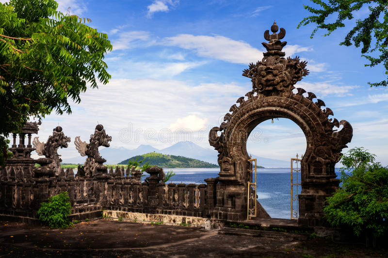 Gardian statue gate at entrance Bali temple. Gardian statue arch at entrance Bali Hindu temple. Bali, Indonesia royalty free stock photos
