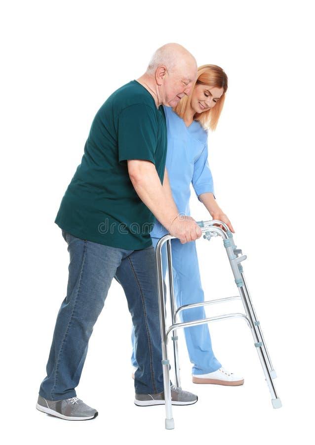 Gardien aidant l'homme plus âgé avec le cadre de marche sur le blanc image libre de droits