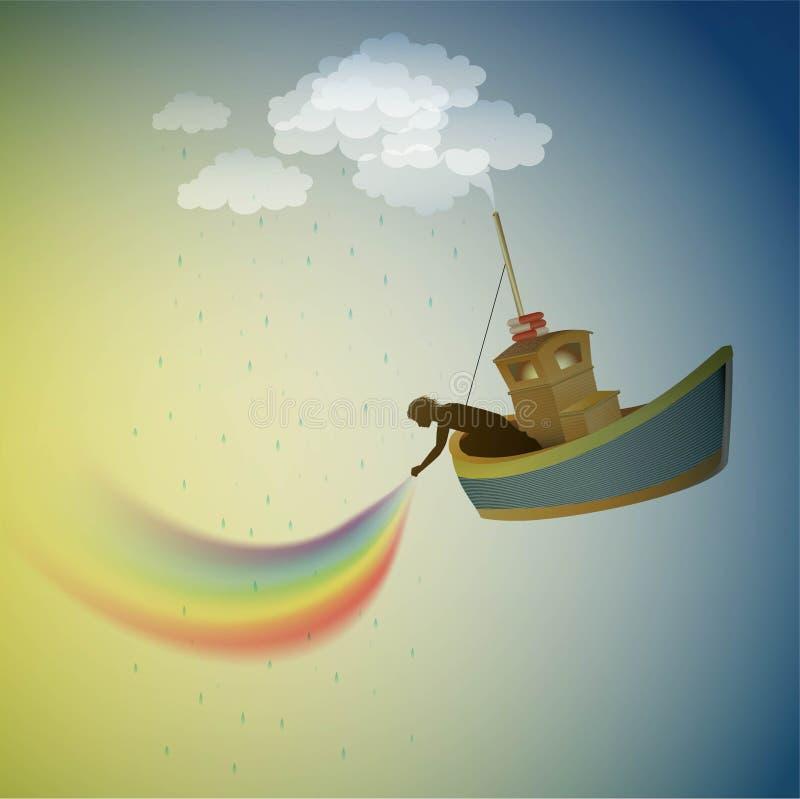 Gardien d'arc-en-ciel, unité centrale l'arc-en-ciel sur le ciel, bateau magique dans le pays des merveilles, scène du pays des me illustration stock