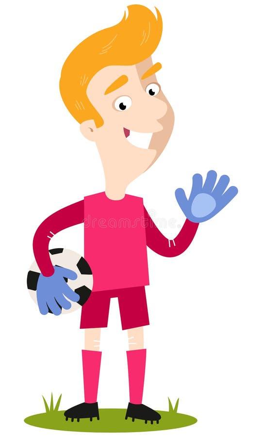 Gardien de but caucasien blond heureux de bande dessinée tenant le football illustration de vecteur