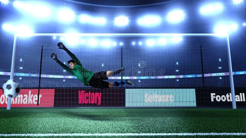 Gardien de but du football en tissu sans marque dans l'action sur le football 3D photos libres de droits