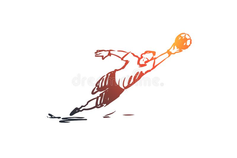 Gardien de but, le football, jeu, joueur, concept d'équipe Vecteur d'isolement tiré par la main illustration stock