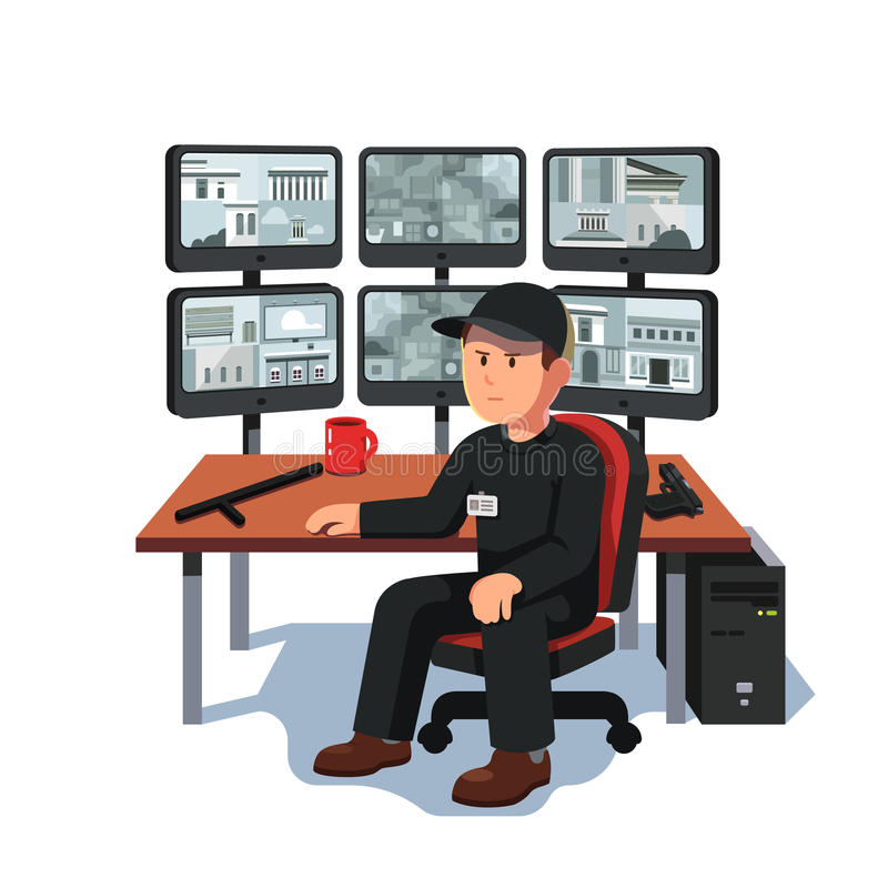 Gardien s'asseyant à la vidéo de surveillance de pièce de sécurité illustration de vecteur