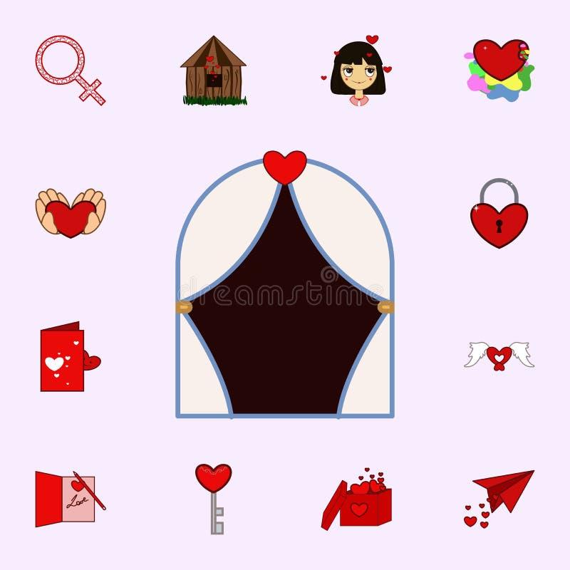Gardin förälskelse, valentindag, hjärtasymbol Älska den universella uppsättningen för symboler för rengöringsduk och mobil stock illustrationer