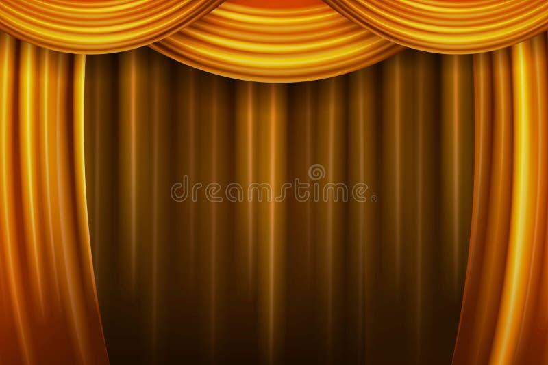 gardintyg viker den släta teatern för guld stock illustrationer