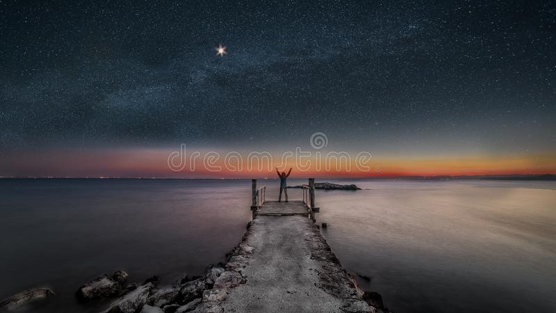 gardy jezioro nocy punta San vigilio obraz royalty free