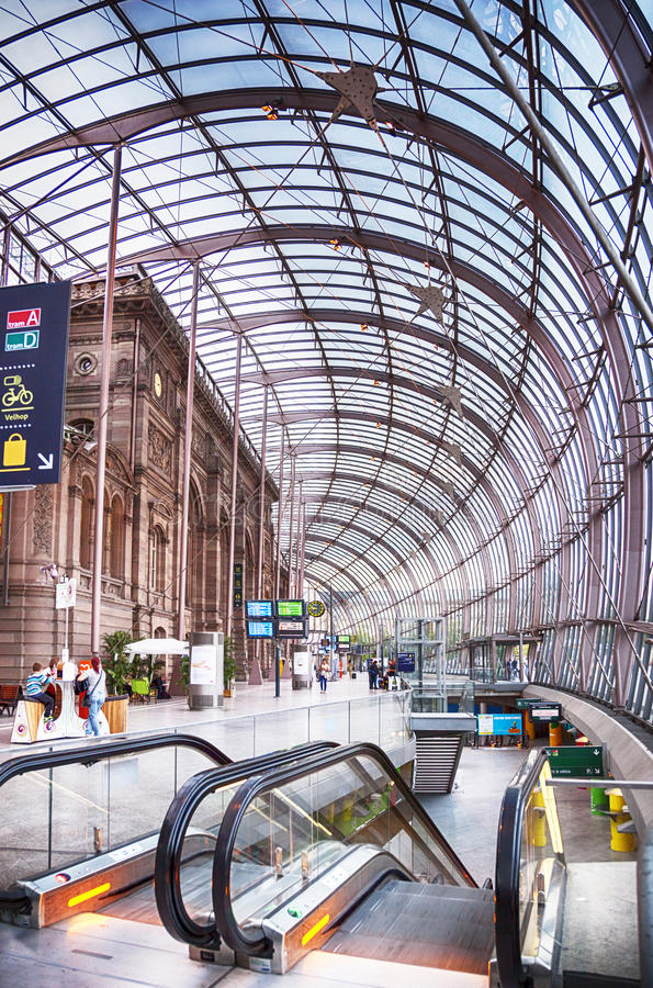 Gare de Strasbourg, the main railway station of Strasbourg city, Alsace region, France royalty free stock photos