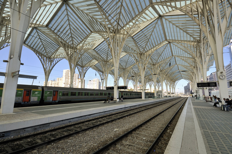 Gare do Oriente, Lisbon. Gare do Oriente is one of the main transport hubs in Lisbon, Portugal. It was designed by Santiago Calatrava and built by Necso. It was royalty free stock images