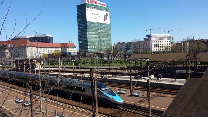 Gare ferroviaire à Danzig, Pologne image stock