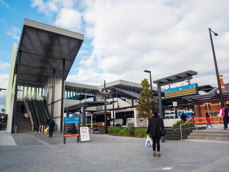 Gare ferroviaire de Ringwood dans la ville de Maroondah dans les banlieues orientales de Melbourne photos libres de droits