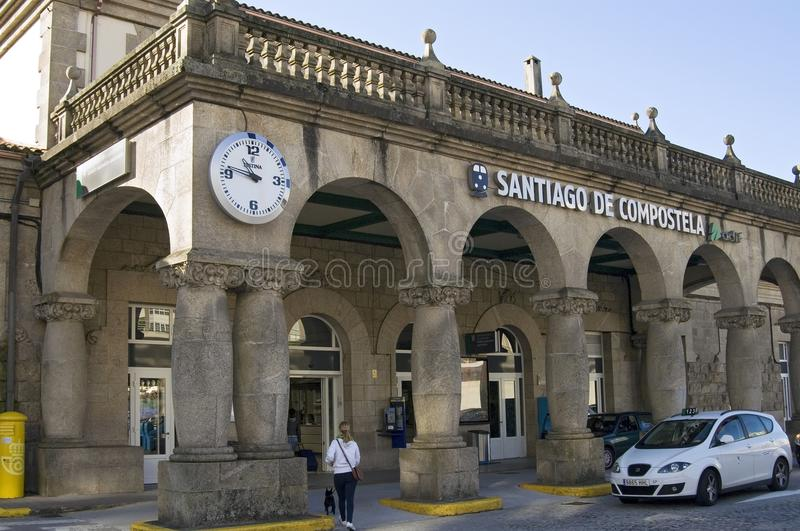 Gare ferroviaire Santiago de Compostela de façade photo stock