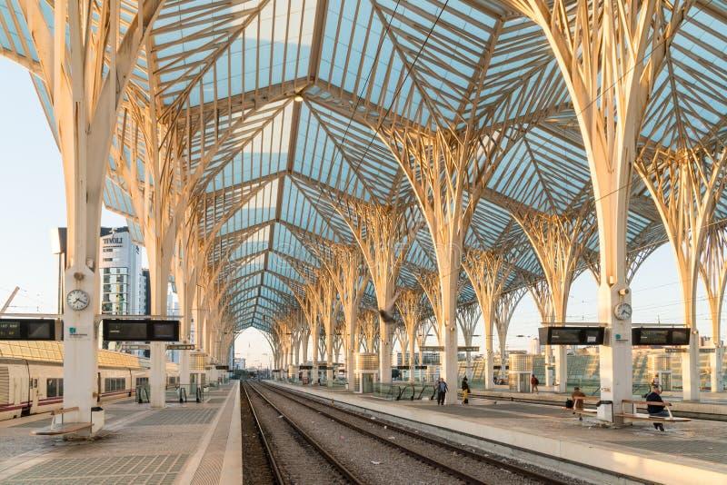 Gare font la station d'Oriente Lisbonne Oriente, Lisbonne, Portugal photos stock