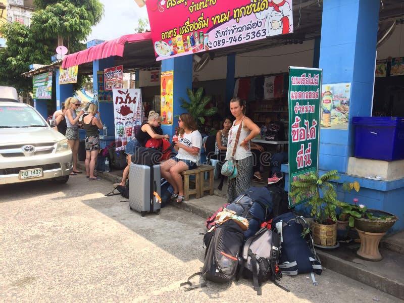 Gare routière chez Kho Chang, Thaïlande images libres de droits