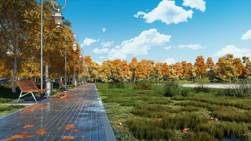 Garez l'allée avec les bancs vides au jour calme d'automne photo stock