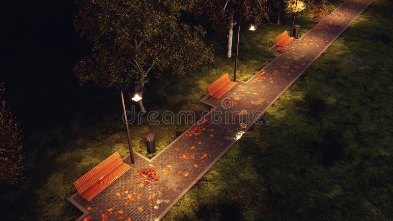 Garez le passage couvert allumé par des réverbères la nuit automnal images libres de droits