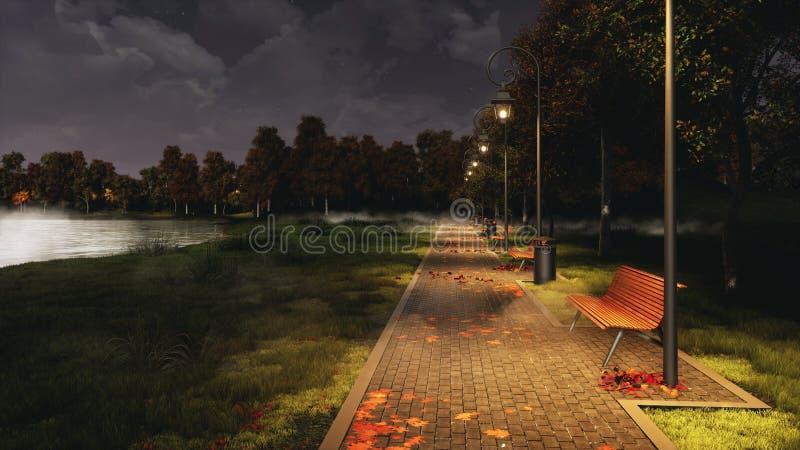Garez le passage couvert allumé par des réverbères la nuit automne photo stock