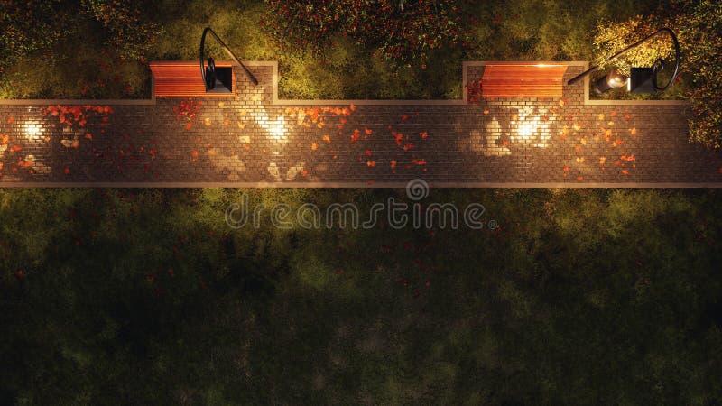 Garez le passage couvert avec des bancs à la vue supérieure de nuit d'automne photos libres de droits